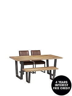 9976f176d3 Julian Bowen Brooklyn 180 cm Metal and Solid Oak Dining Table + 2 Chairs +  Bench