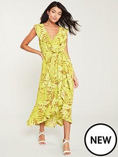 c60d9a85c5e Wallis Neon Palm Ruffle Wrap Dress - Yellow