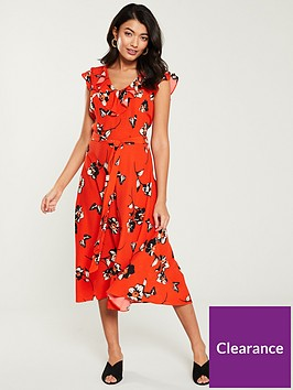 wallis-butterfly-floral-midi-dress-red