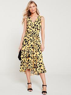 wallis-animal-tiered-dress-yellow