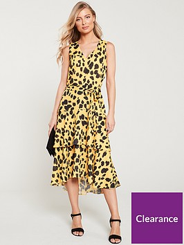 wallis-animal-tiered-dress-yellow