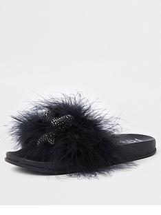 river-island-girls-embellished-faux-feather-sliders-black