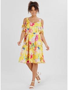 evans-floral-printed-cold-shoulder-dress--nbspyellow