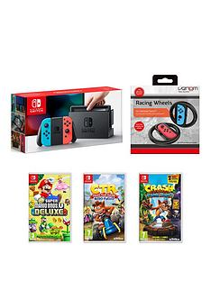 nintendo-switch-nintendo-switch-console-with-crash-team-racing-nitro-fueled-crash-bandicoot-nsane-trilogy-new-super-mario-bros-u-deluxe-and-a-racing-wheel-twin-pack