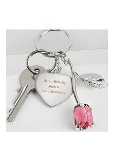 personalised-pink-rose-keyring