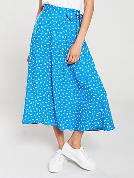 v-by-very-floral-split-side-midi-skirt-blue