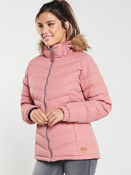 Trespass Nadina Fur Trim Parka - Dusty Rose