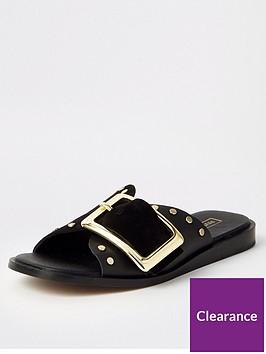 river-island-river-island-buckle-detail-flat-sandal-black