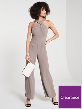 river-island-river-island-high-neck-cross-front-jumpusuit--beige