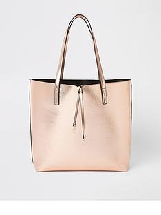 river-island-river-island-pocket-front-shopper--rose-gold