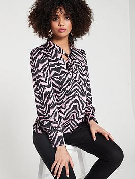 river-island-river-island-zebra-print-pussybow-blouse--pink