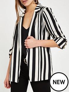 ri-petite-ri-petite-stripe-ruched-sleeve-blazer--stripe