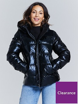 michelle-keegan-high-shine-short-padded-coat-black