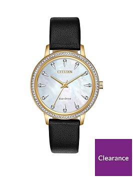 citizen-citizen-eco-drive-mother-of-pearl-gold-detail-and-crystal-set-dial-black-leather-strap-ladies-watch