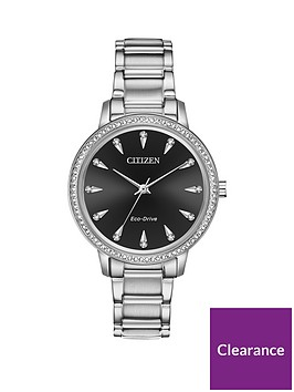 citizen-citizen-eco-drive-black-sunray-crystal-set-dial-stainless-steel-bracelet-ladies-watch