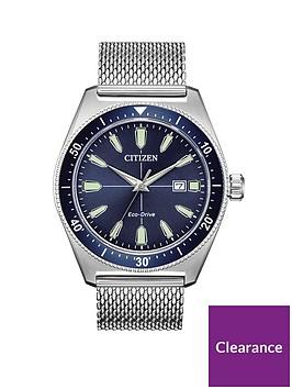 citizen-citizen-blue-sunray-date-dial-stainless-steel-mesh-strap-mens-watch