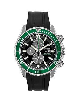 citizen-citizen-eco-drive-promaster-black-and-green-detail-chronograph-dial-black-silicone-strap-mens-watch