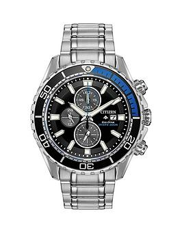 citizen-citizen-eco-drive-promaster-black-and-blue-detail-chronograph-dial-stainless-steel-bracelet-mens-watch
