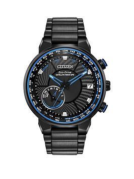 citizen-citizen-eco-drive-satellite-wave-gps-black-and-blue-detail-chronograph-dial-black-stainless-steel-bracelet-mens-watch