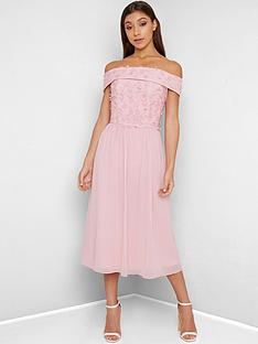 chi-chi-london-rox-3d-floral-bardot-midi-dress-pink