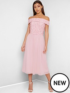 chi-chi-london-rox-3d-floral-bardot-midi-dress-pink
