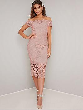 Chi Chi London Victoire Bardot Lace Midi Dress - Pink