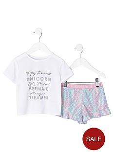 river-island-mini-mini-girls-unicorn-frill-pyjama-set-white