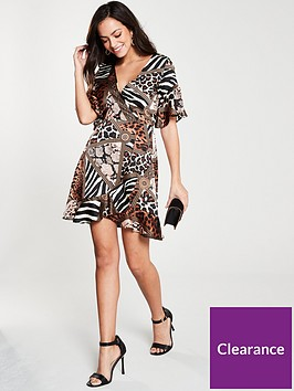 ax-paris-animal-print-frill-dress-multi