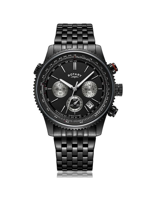 Rotary Black And Silver Detail Chronograph Dial Stainless Steel Bracelet Mens Watch