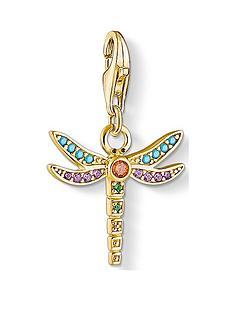 thomas-sabo-thomas-sabo-18k-gold-plated-silver-dragonfly-charm