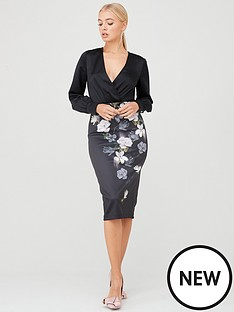 ted-baker-alithea-opal-printed-knot-detail-bodycon-dress-black