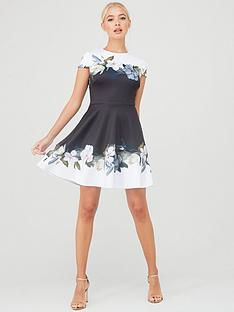 ted-baker-louva-opal-printed-skater-dress-black