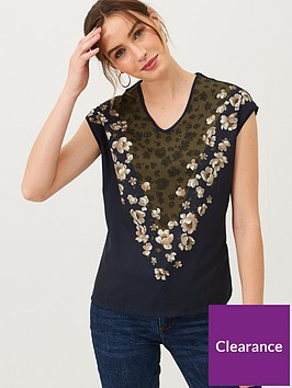ted-baker-onina-pearl-printed-woven-front-t-shirt-dark-blue