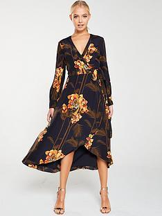 ted-baker-stela-caramel-printed-wrap-dress-black