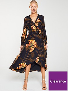 ted-baker-stela-caramel-printed-wrap-dress-black