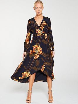 Ted Baker Ted Baker Stela Caramel Printed Wrap Dress - Black Picture