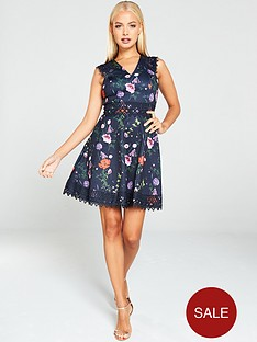 ted-baker-mayo-hedgerow-lace-trim-cut-away-skater-dress-dark-blue