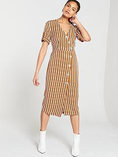 07405e5a56c River Island River Island Stripe Button Detail Midi Dress- Brown