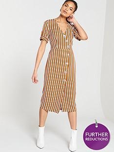 river-island-river-island-stripe-button-detail-midi-dress--brown