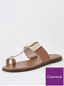 river-island-river-island-chain-toe-post-flat-sandal-tan