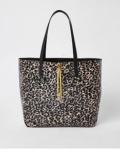river-island-river-island-animal-print-shopper-bag--black