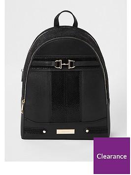 river-island-river-island-snaffle-detail-backpack-black