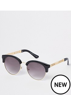 river-island-river-island-chain-trim-retro-sunglasses--black