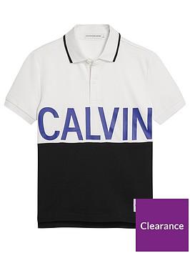 calvin-klein-jeans-boys-short-sleeve-colour-block-polo-shirt-white
