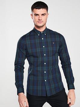 Farah Farah Long Sleeve Tartan Brewer Shirt - Navy/Green Tartan Picture