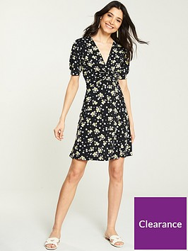 v-by-very-jersey-floral-front-twist-dress-black