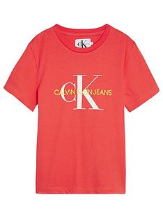 calvin-klein-jeans-girls-monogram-short-sleeve-t-shirt-coral