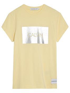 calvin-klein-jeans-girls-box-slim-fit-short-sleeve-t-shirt-yellow