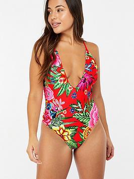 accessorize-fiesta-print-plunge-swimsuit-red