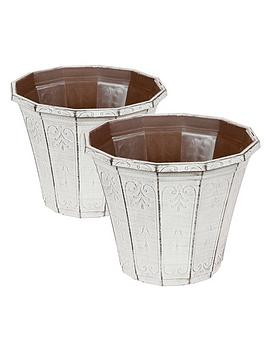 Very Pair Of Callista Round Planters 12-Inch Vintage Rust Effect Picture